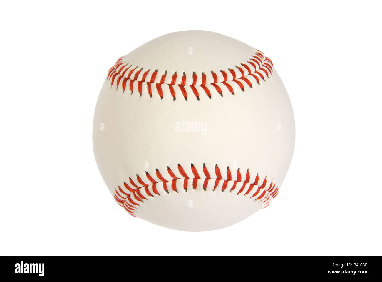 A new baseball isolated on white with red stitching - Stock Image