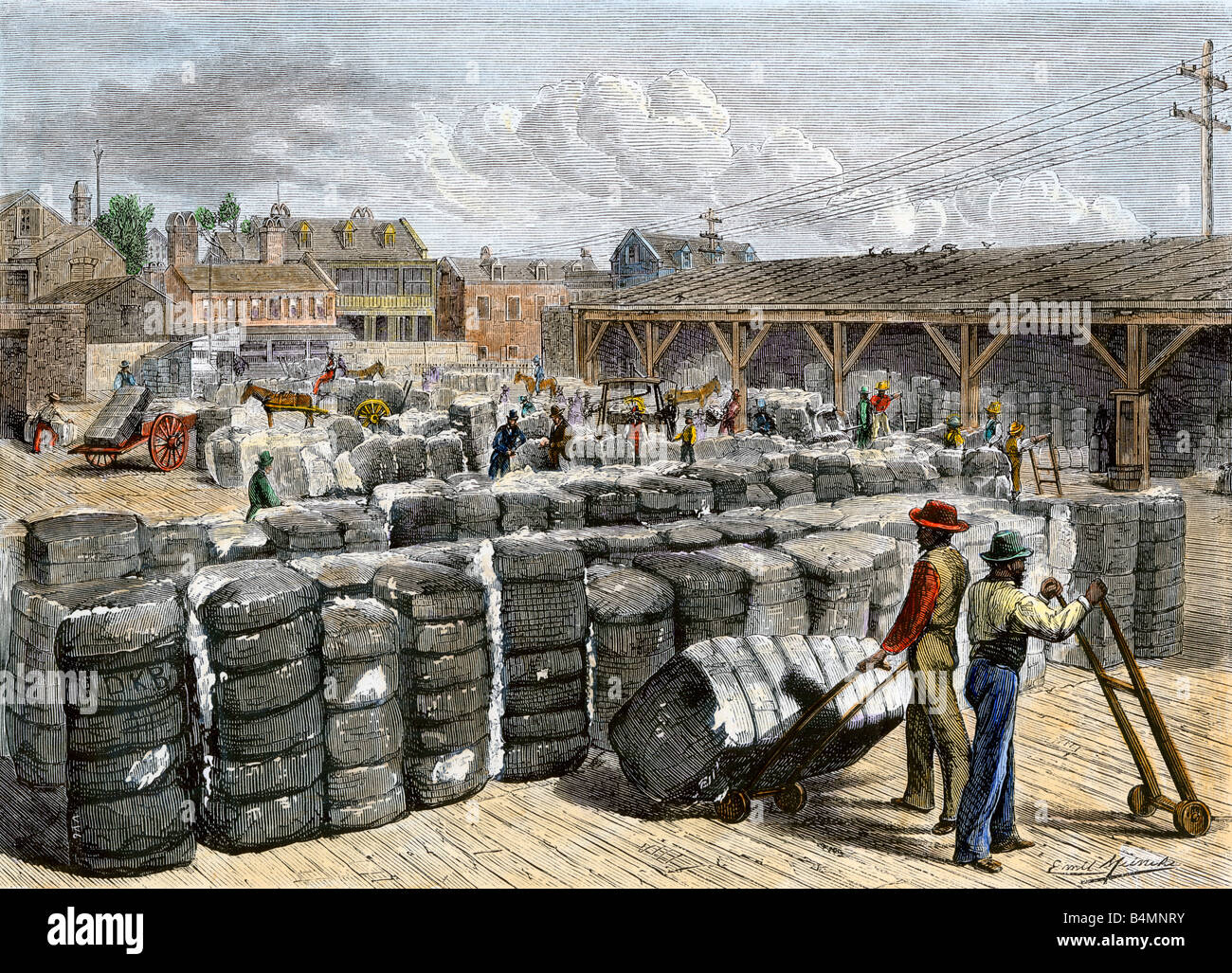 black stevedores loading bales on the cotton wharf in charleston