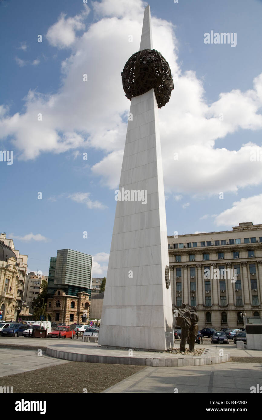 Bucharest Romania EU The Revolution Monument in Revolution Square is the memorial to those killed in the 1989 fighting - Stock Image