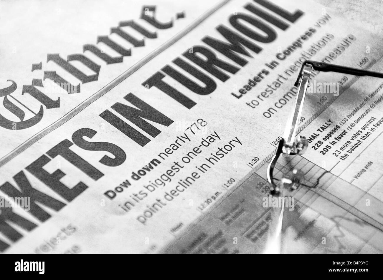 Markets In Turmoil - stock market headlines - Stock Image