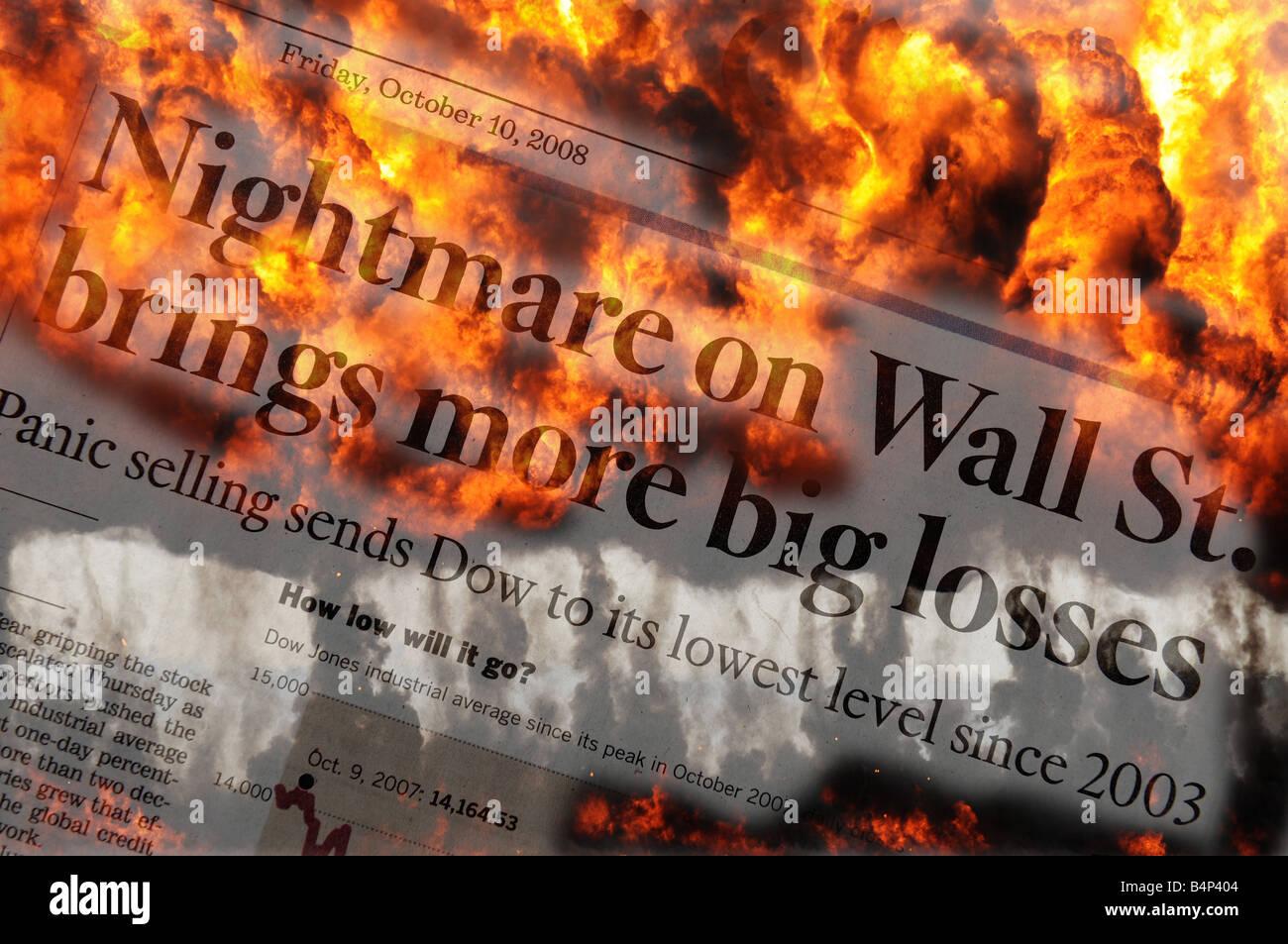 Nightmare on Wall Street - Stock Image