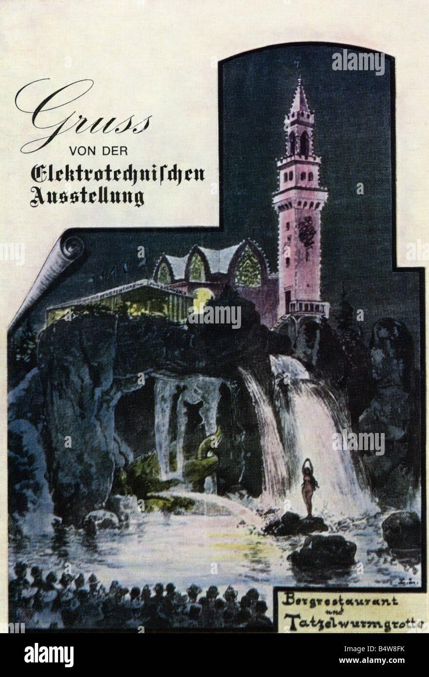 exhibitions, industry, International Electro-Technical Exhibition, Frankfurt am Main, 16.5.1891 - 19.10.1891, postcard, - Stock Image