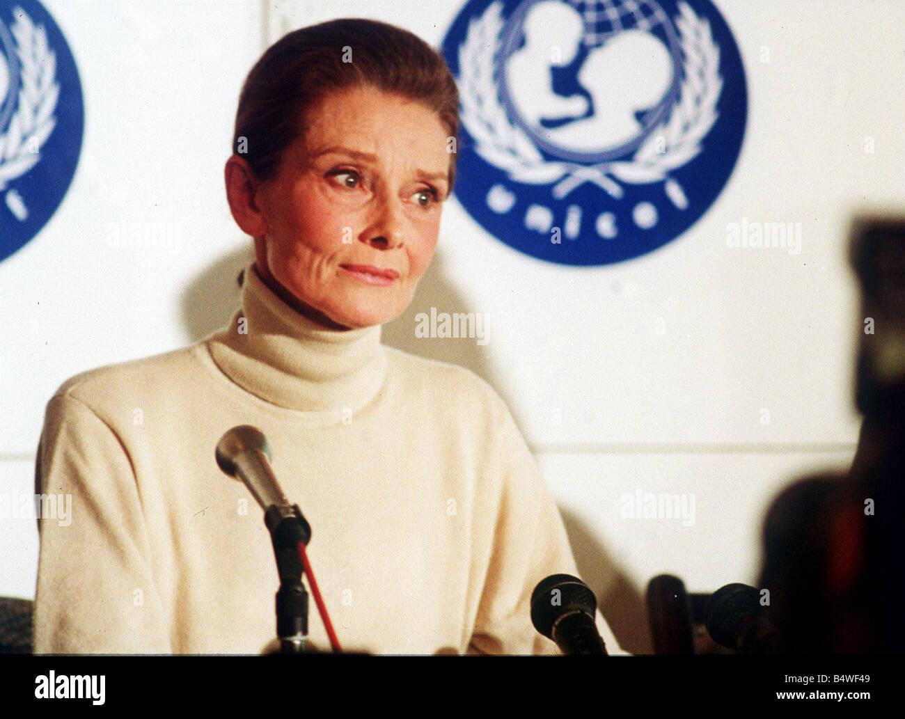 Audrey Hepburn actress speaking at UNICEF Stock Photo