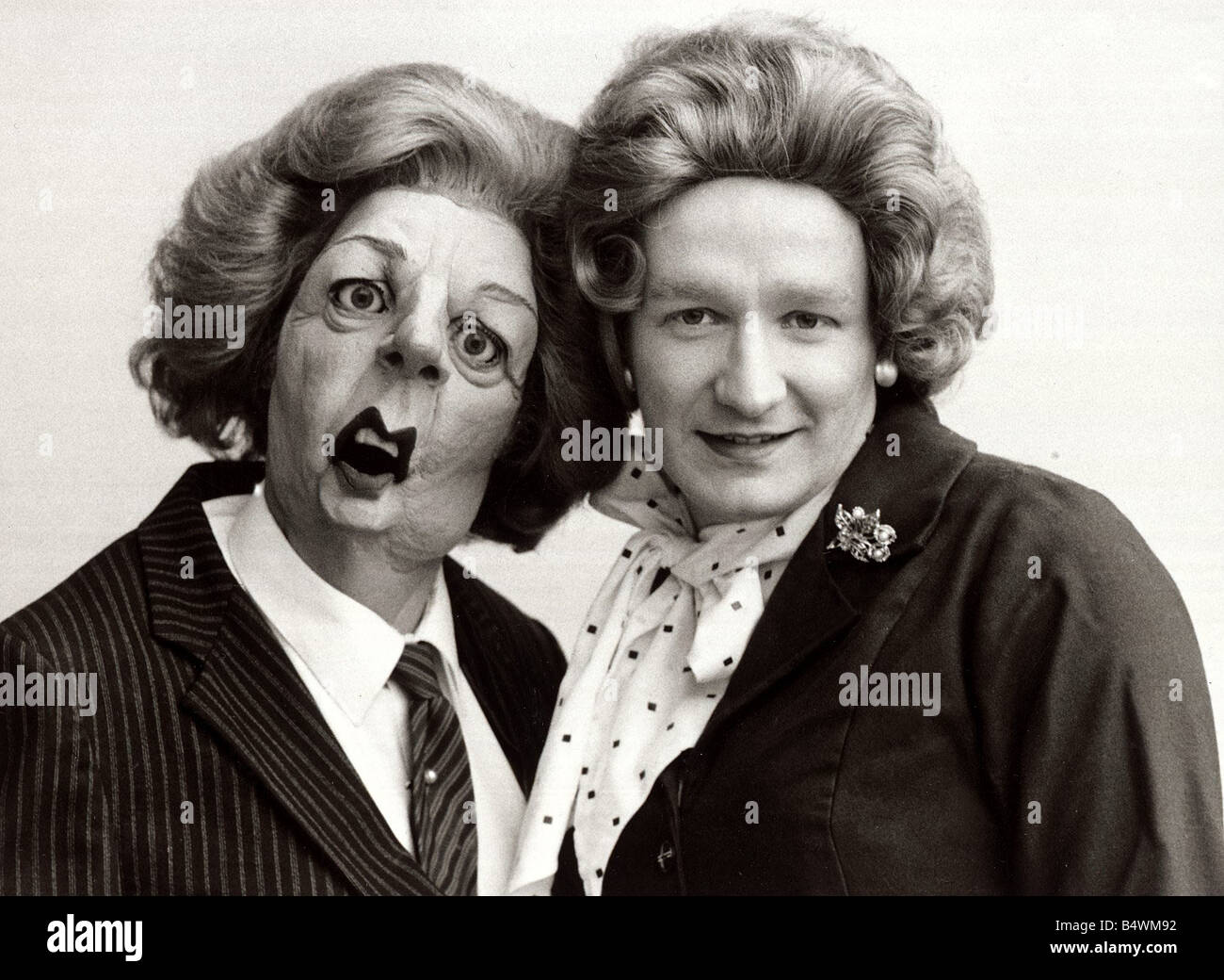 Steve Nallon with spitting image puppet Margaret Thatcher voice behind mrs T February 1985 Stock Photo