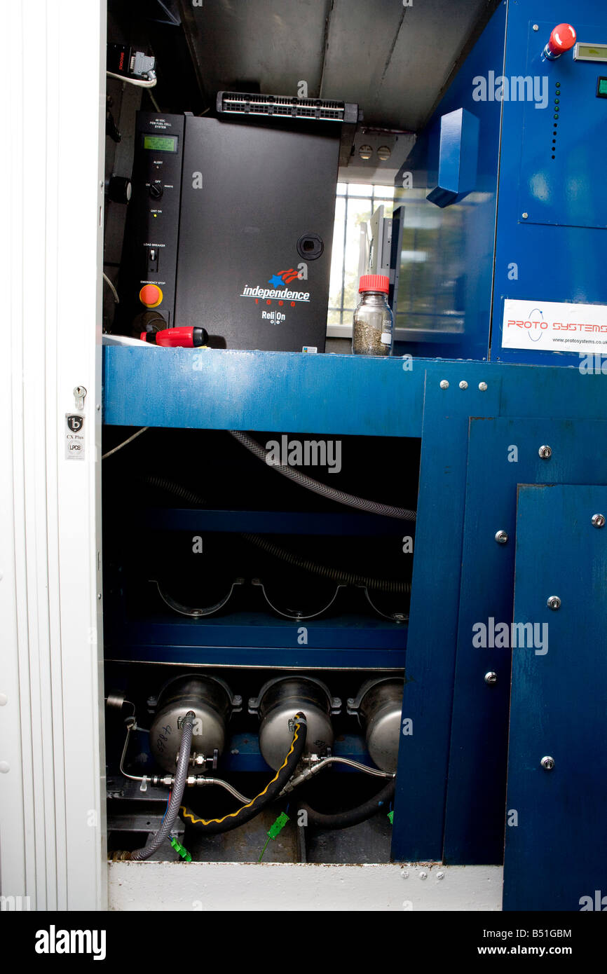 Hydrogen Fuel cells top Cylinders of hydride are used to store the hydrogen efficiently - Stock Image