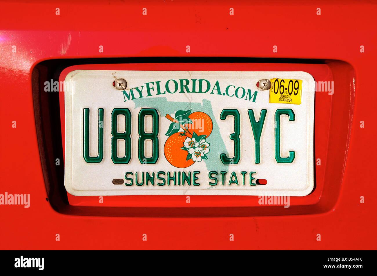 Florida Car Number Plate Usa Stock Photo 20379716 Alamy