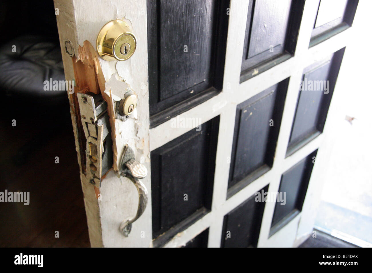 Awesome Broken Door And Lock Damaged By Police During A Drugs Raid In Detroit  Michigan USA