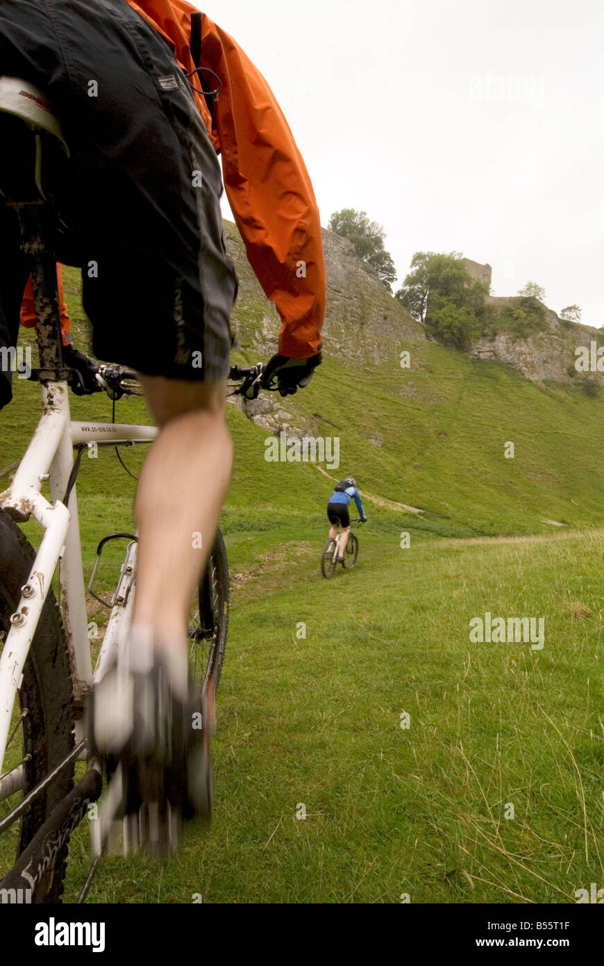 mountain biking Cavedale Castleton in the Peak District National Park Derbyshire UK England GB Great Britain - Stock Image