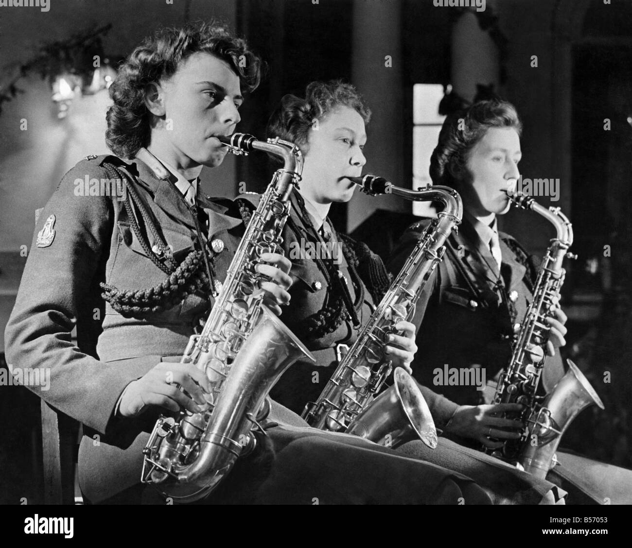 World War II Women. Three times the Sax. Three Sax players from the ATS dance band seen here performing. January Stock Photo