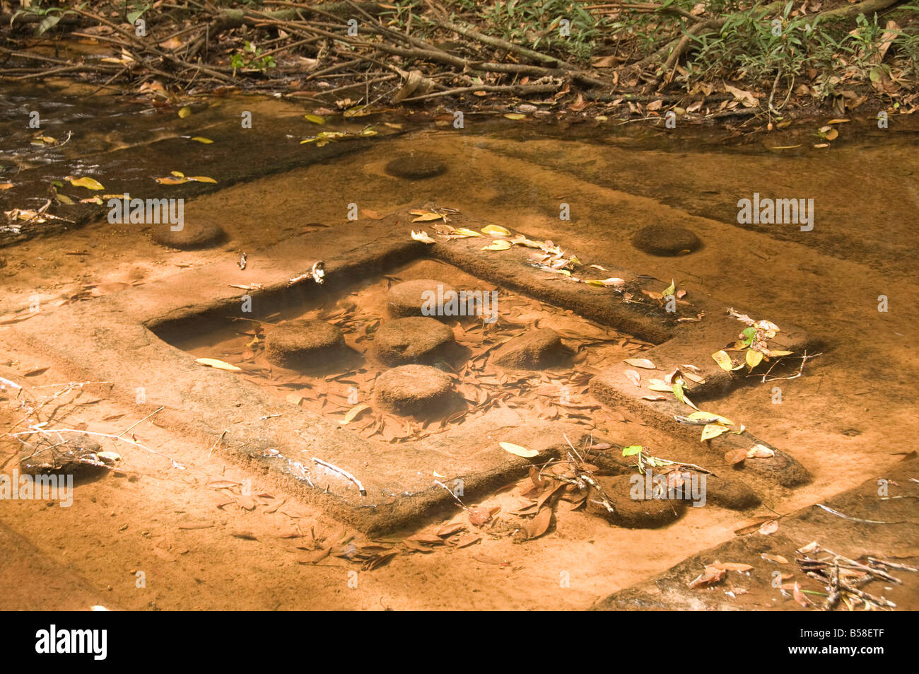 River of a thousand lingas, Kbal Spean, near Angkor, Siem Reap, Cambodia, Indochina, Southeast Asia - Stock Image