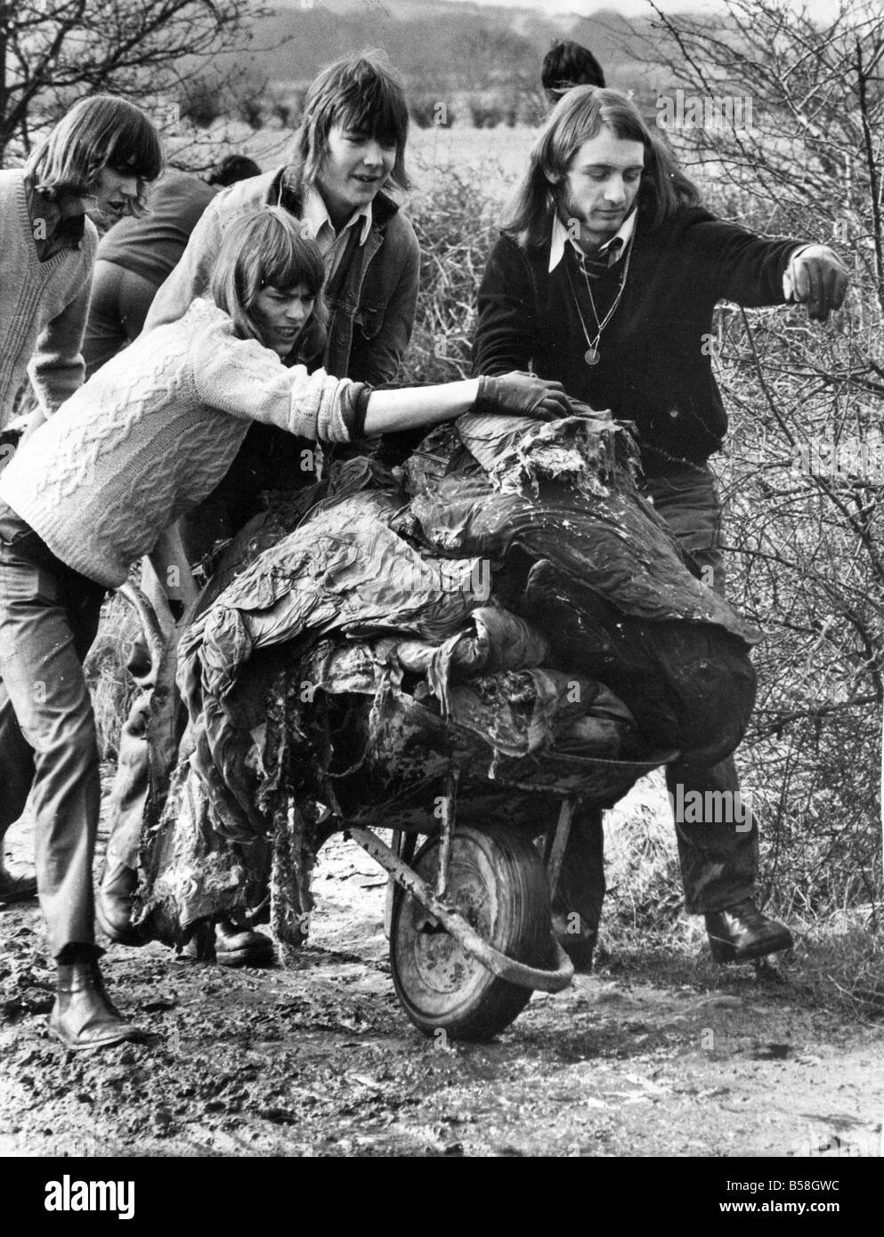 John Martin Billy Stephenson and Bill Lane carting away dumped rubbish from a bridle path at Beamish Hall - Stock Image