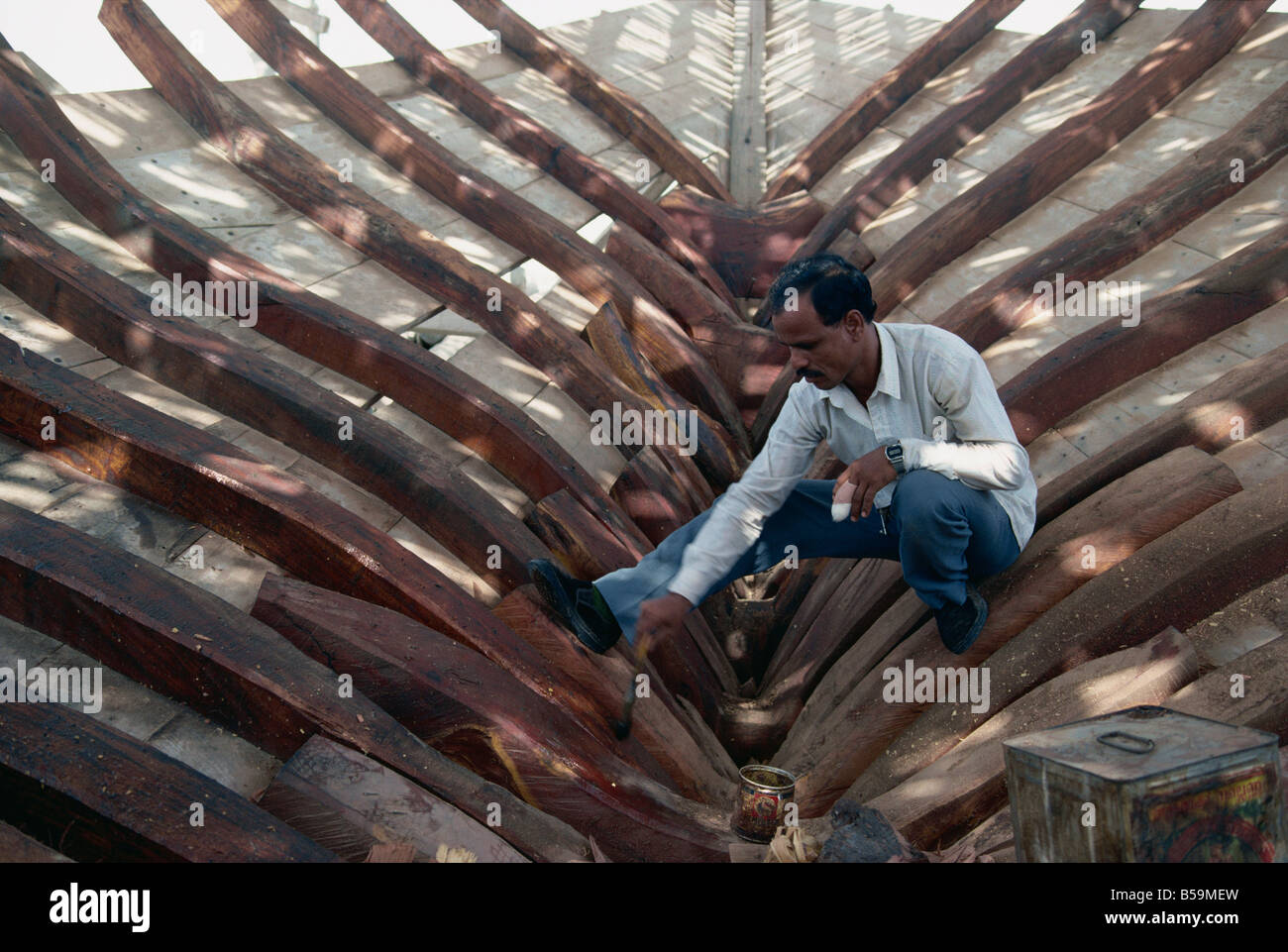 Dhow construction, Manama, Bahrain, Middle East - Stock Image