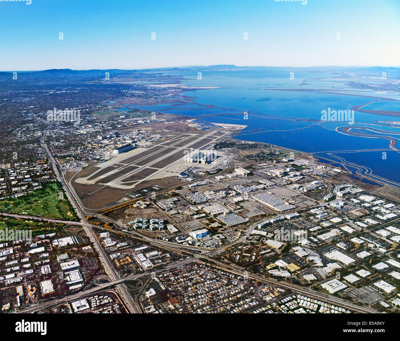 aerial view above Sunnyvale California Silicon Valley Moffett Field airport and Bayshore Freeway including Lockheed - Stock Image