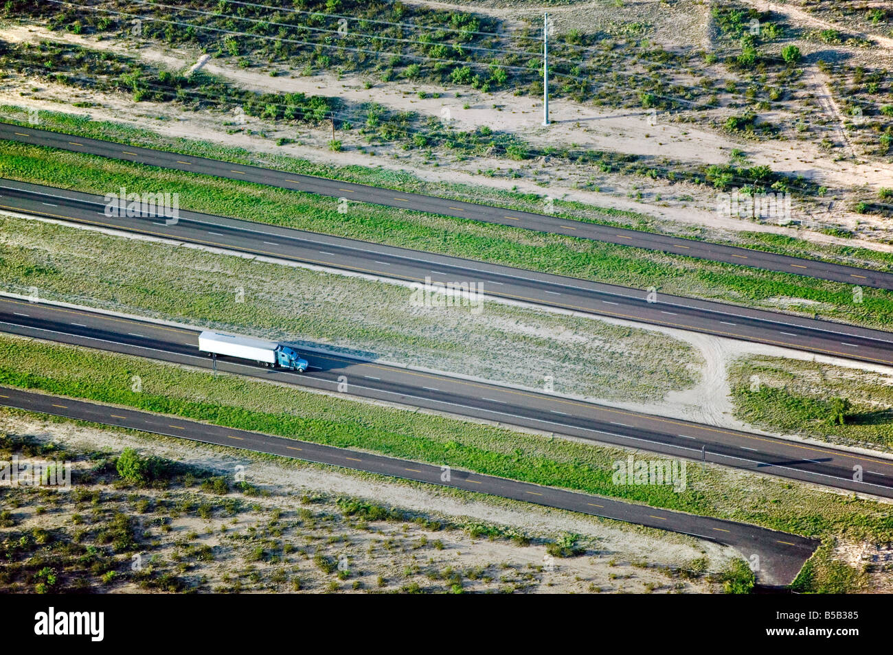 aerial view above truck lorry on interstate highway 10 Texas - Stock Image