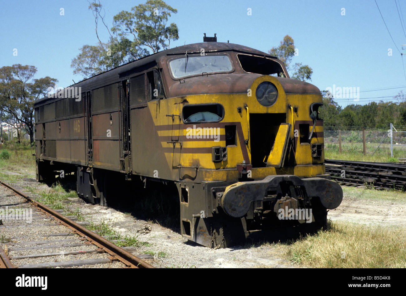 Withdrawn SRA class 44 locomotive No 4416 at Cardiff, New South Wales,  Australia 1987