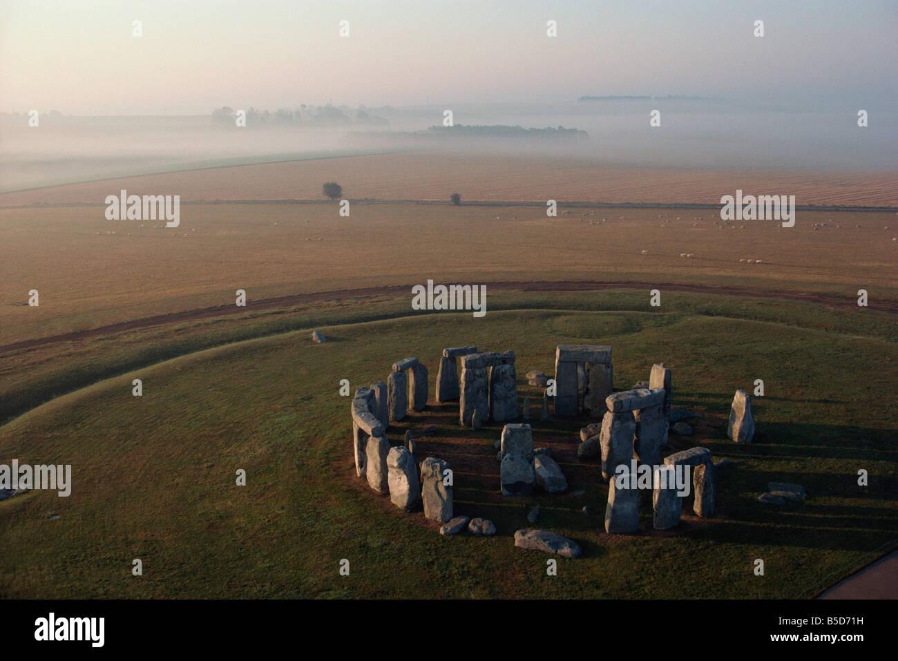 Aerial view of Stonehenge, UNESCO World Heritage Site, Wiltshire, England, Europe Stock Photo