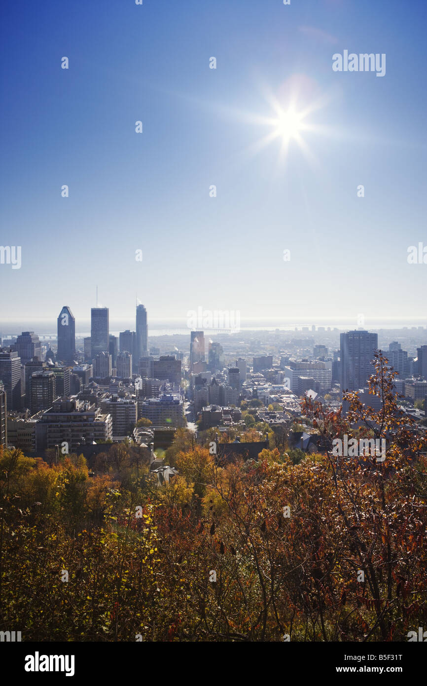 Montreal downtown from the Mount Royal - Stock Image
