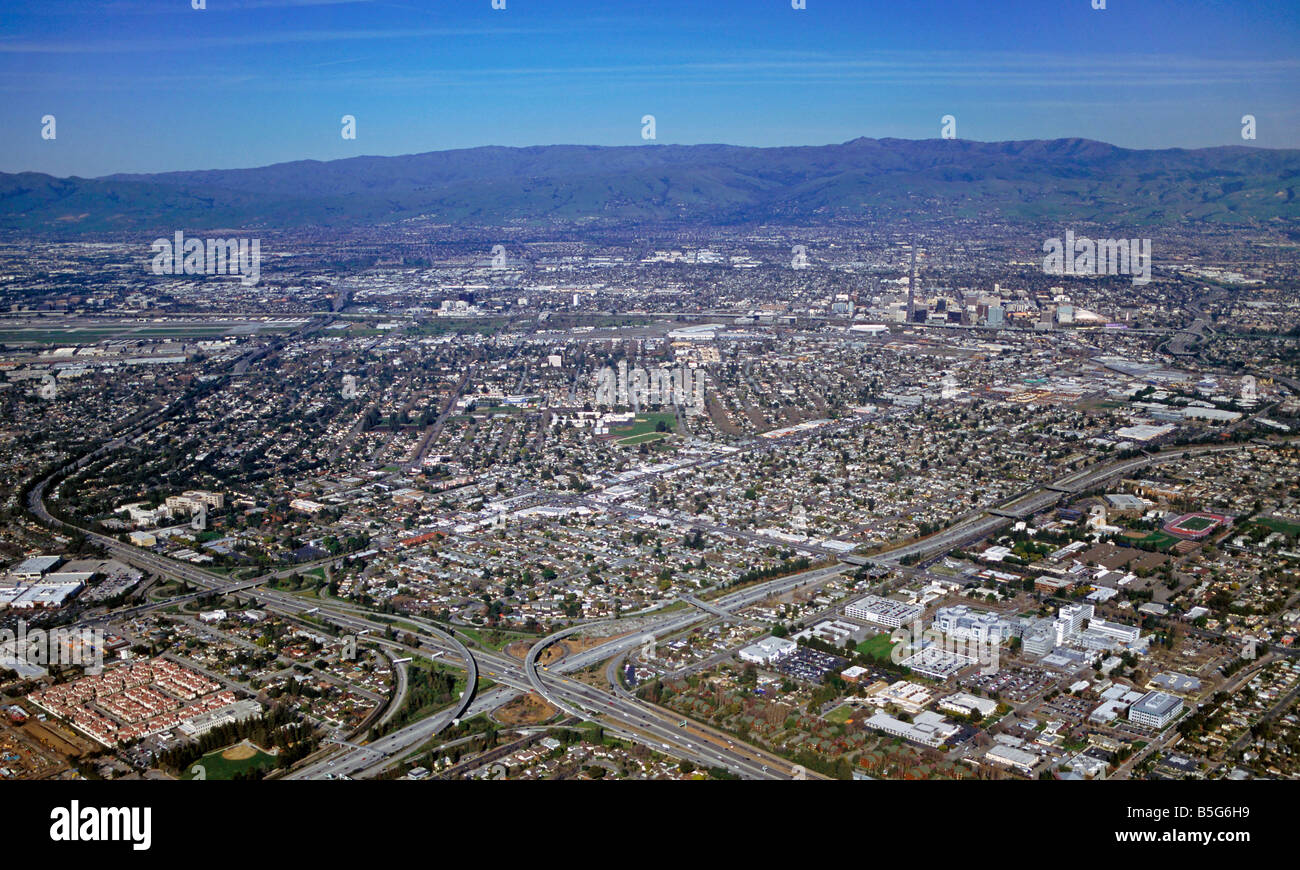 aerial view above Silicon Valley from Campbell to San Jose California at interstate 280 and highway 17 - Stock Image