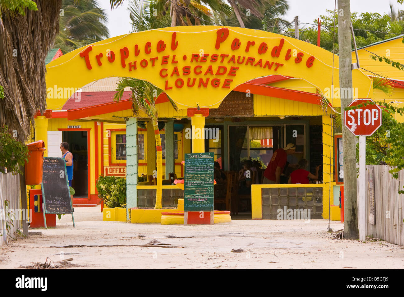 Caye Caulker Belize Topical Paradise Hotel And Restaurant Stock
