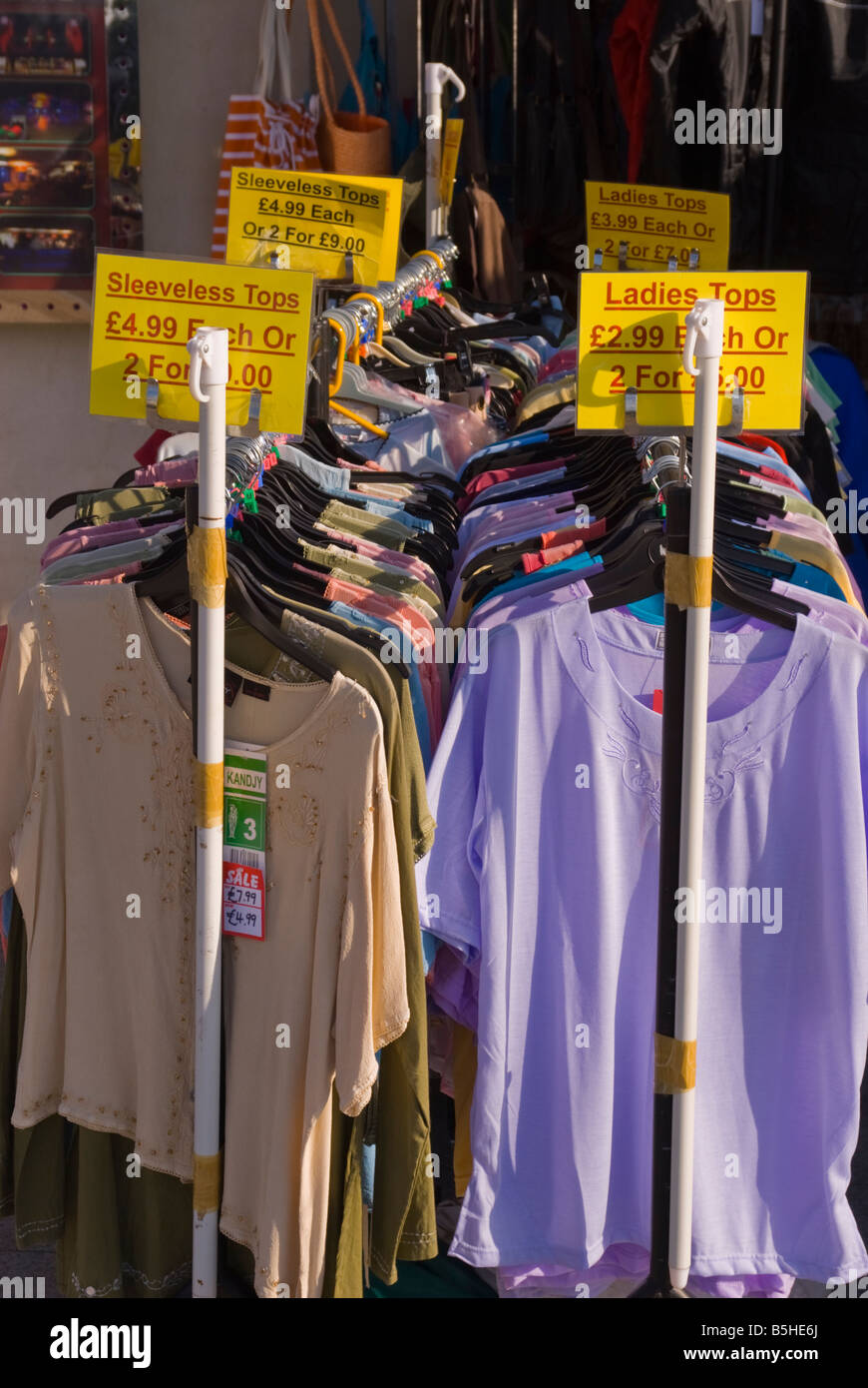 Beautiful Cheap Clothes For Sale On Rack Outside Uk Store