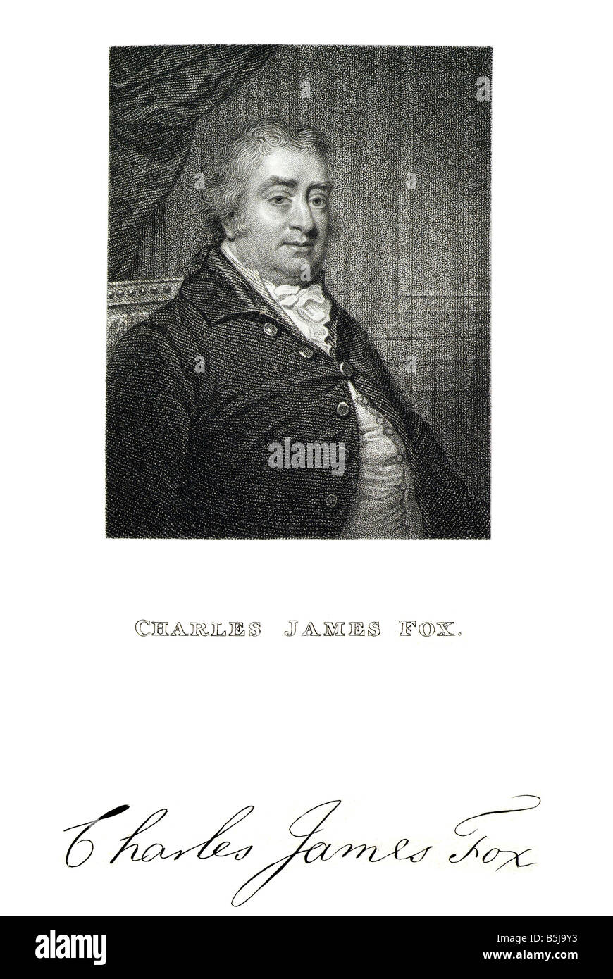charles james fox The Right Honourable Charles James Fox (24 January 1749 – 13 September 1806) was a prominent British - Stock Image