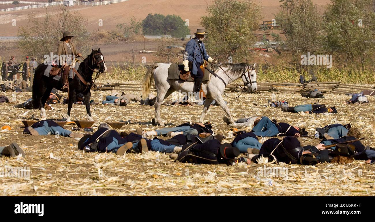 Dead Soldiers on Battleground - Stock Image