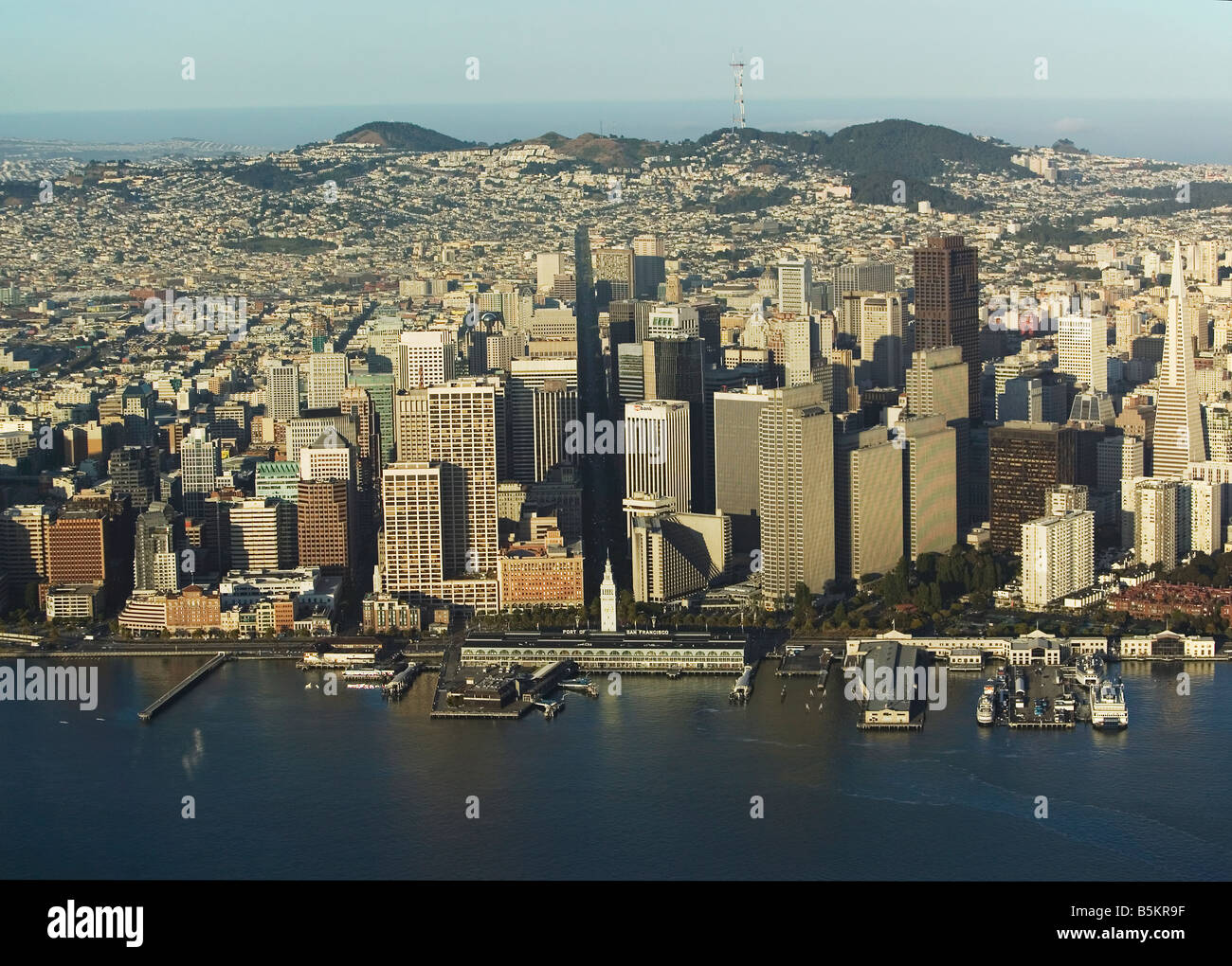 aerial view above San Francisco financial district ferry building Market Street class A office space - Stock Image