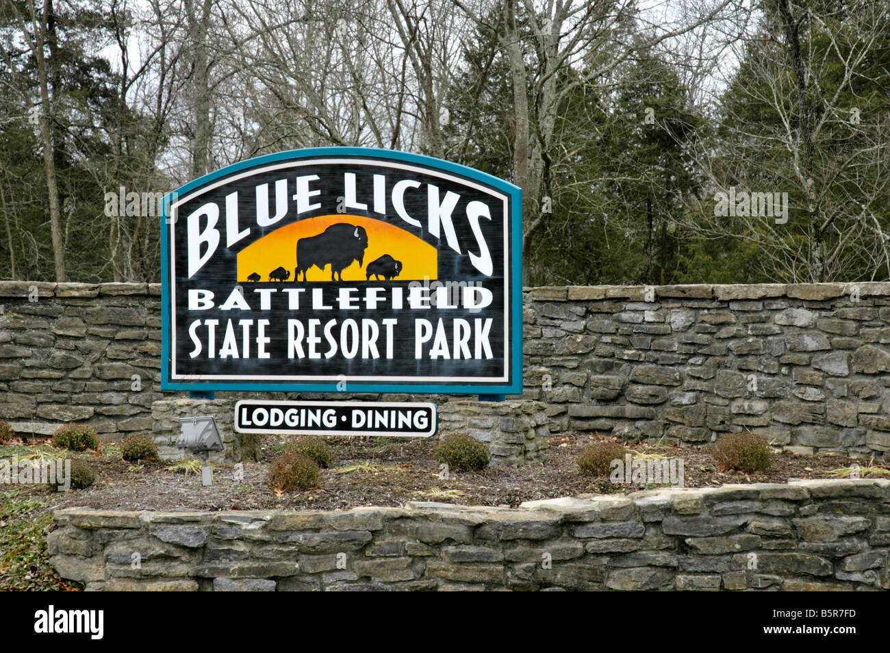 Entrance sign to Blue Licks Battlefield State Resort Park in Kentucky USA - Stock Image