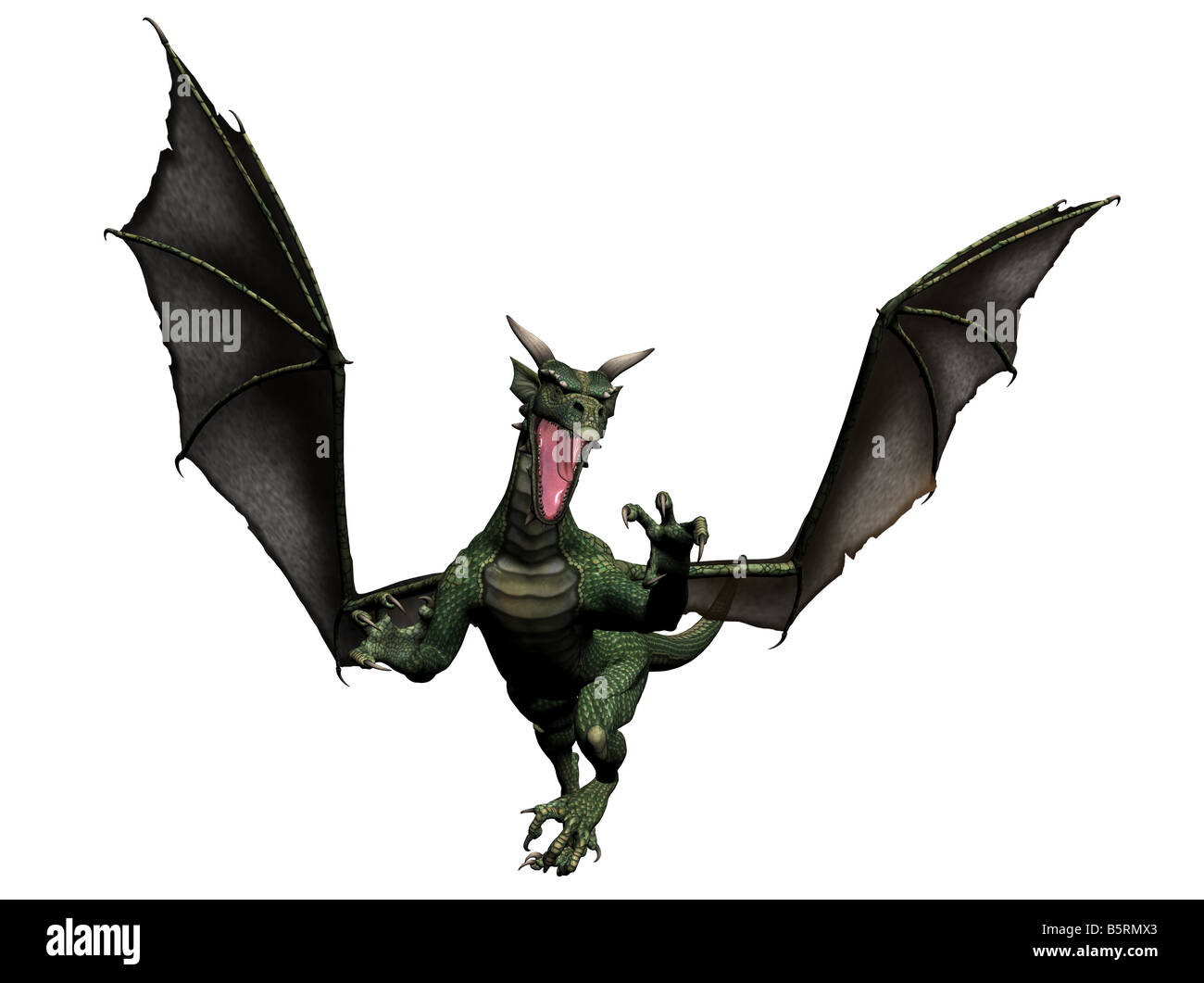 a flying dragon rendered with Bryce 6 - Stock Image