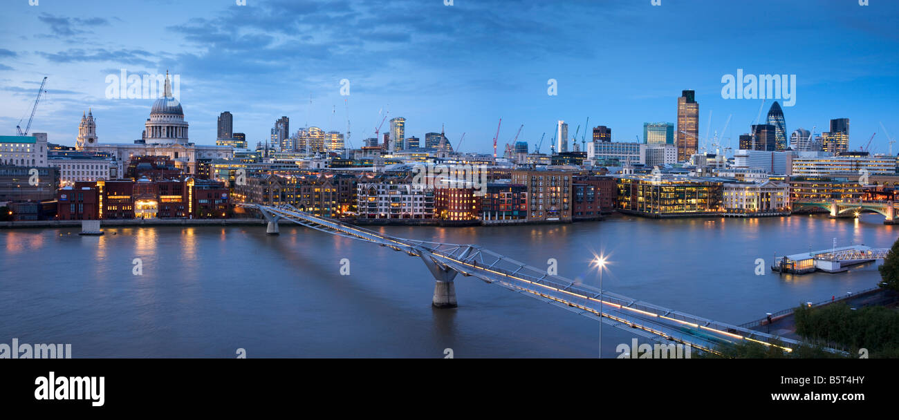 UK London St Pauls Cathedral and the city Skyline viewed over the river Thames - Stock Image