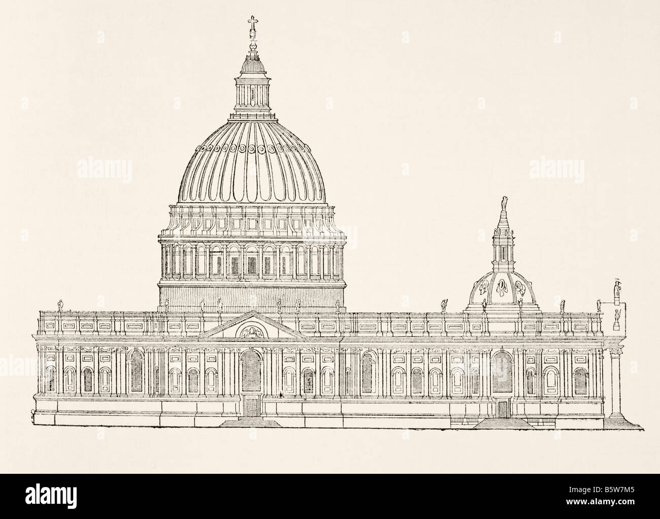 Christopher Wren s first design for the new St Paul s Cathedral after the Great Fire of London Stock Photo