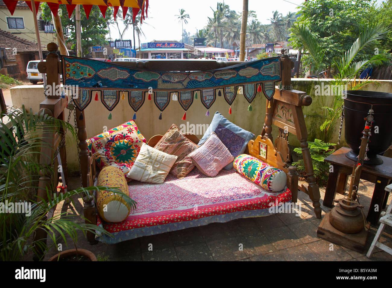 traditional indian furniture at baga beach goa india stock photo rh alamy com indian outdoor furniture uk indian garden furniture suppliers
