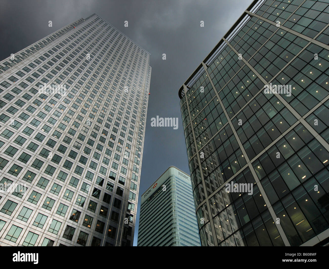 Canary Wharf office towers with HSBC logo Docklands London UK - Stock Image