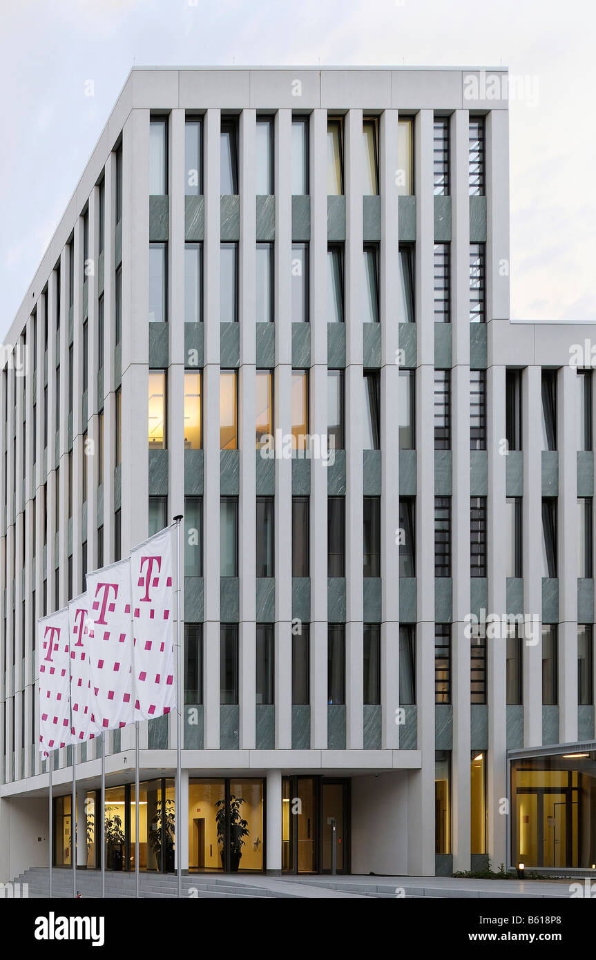 New buildings of the Deutschen Telekom AG, T-Com, Office Port with flags, Bonn, North Rhine-Westphalia - Stock Image