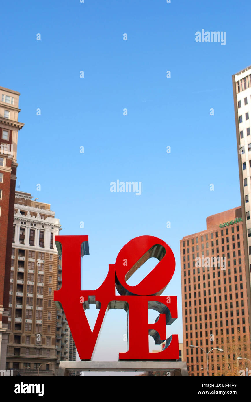 Philadelphia PA LOVE sculpture downtown philly Stock Photo