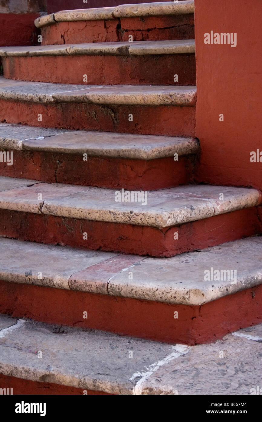 Colorful stone steps in El Jardin in San Miguel de Allende Mexico - Stock Image