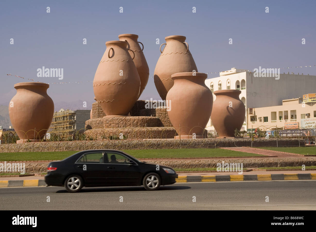 United Arab Emirates Fujairah Dibba traffic roundabout - Stock Image