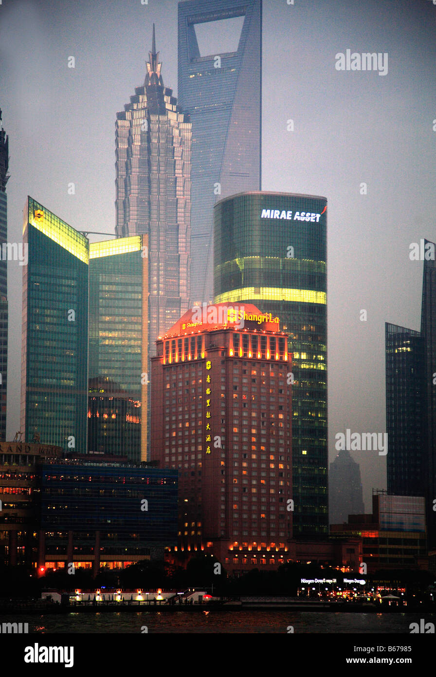 China Shanghai Pudong business district skyline Jinmao Tower World Finance Building - Stock Image
