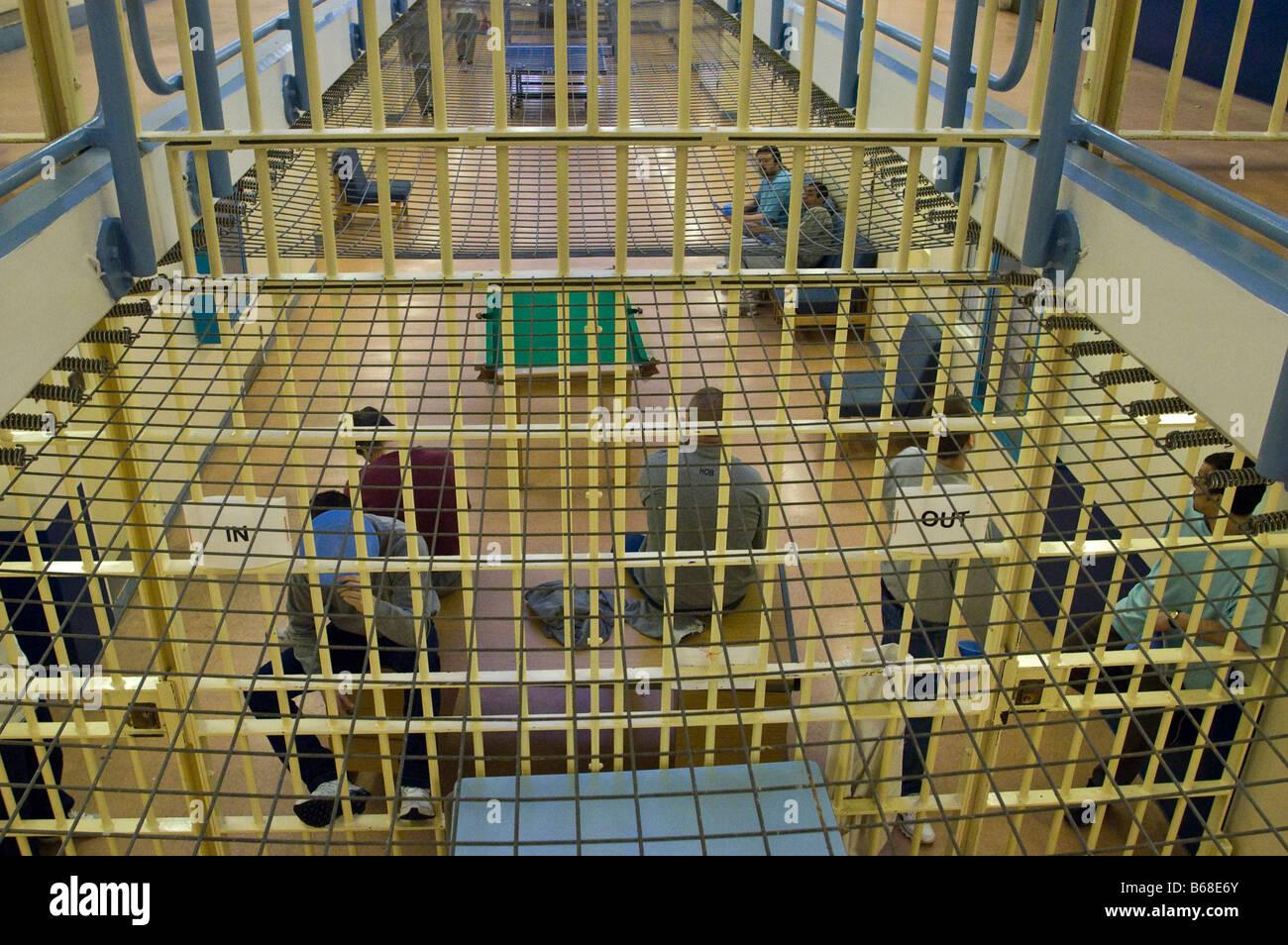 Prisoners on a landing Stock Photo
