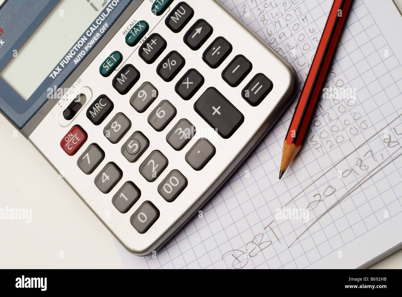 Block paper, calculator and pencil with list of monthly debt and expenses. - Stock Image