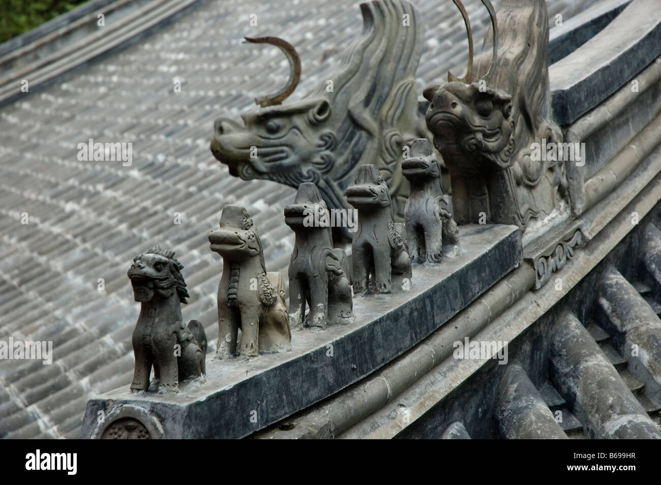 ceramic roof decoration in chinese imperial architecture roof stock