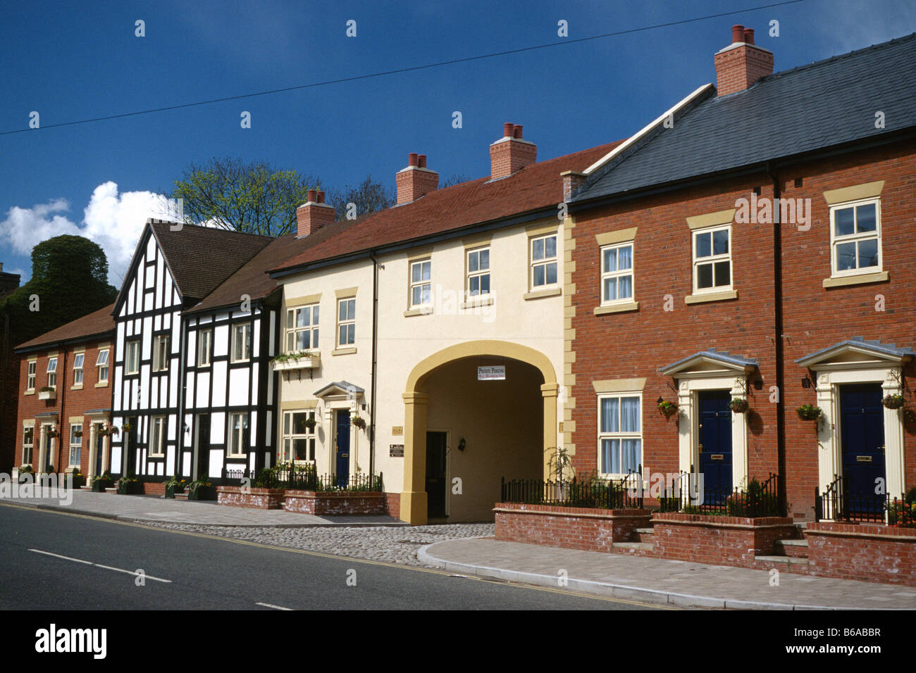 Houses in Welsh Row, Nantwich, Cheshire Stock Photo