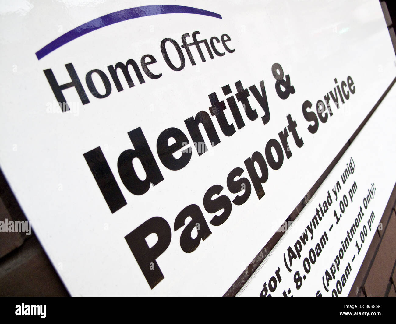 sign for the Home Office Identity and Passport Service, UK Stock ...