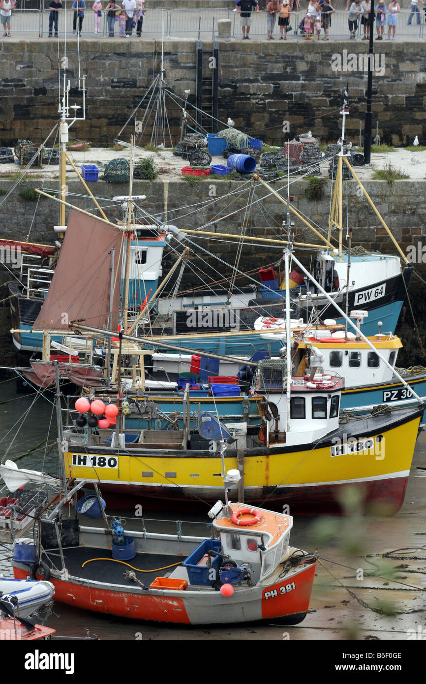 fishing boats vessels fish newquay seafaring - Stock Image