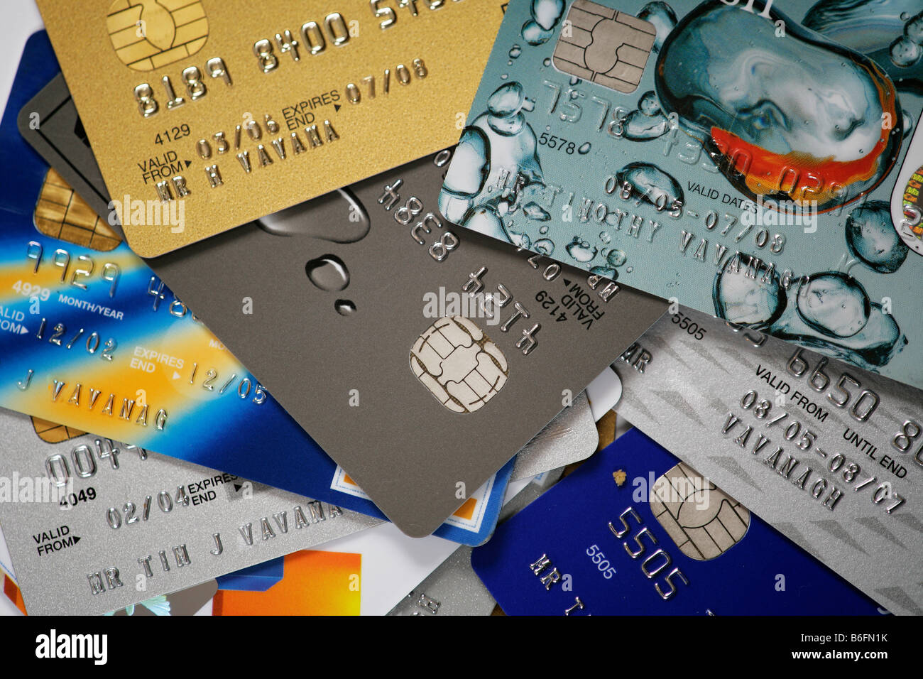 A selection of credit cards Stock Photo