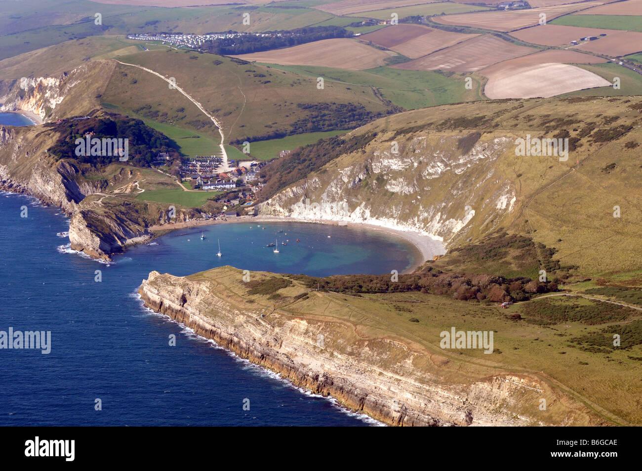 Lulworth Cove, aerial view, Dorset, Britain, UK - Stock Image