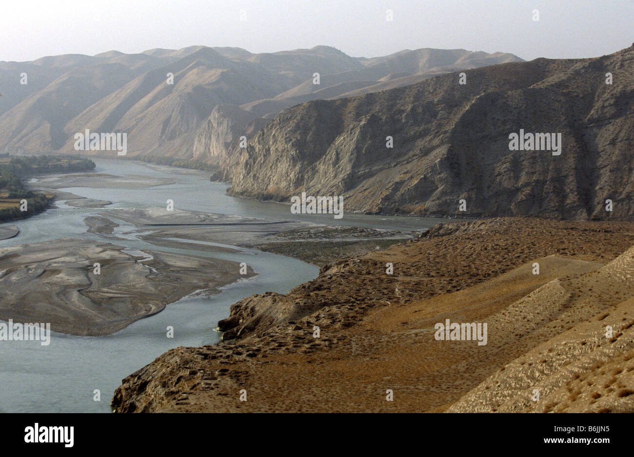 Afghanistan, Kunduz area, Ai Khanum, on the Amu Daryu river, Looters' holes, founded in 4th century BC Stock Photo