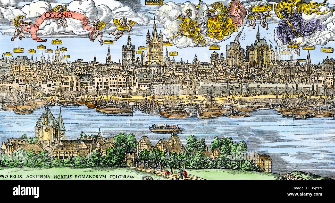 City of Cologne on the Rhine in the 16th century - Stock Image