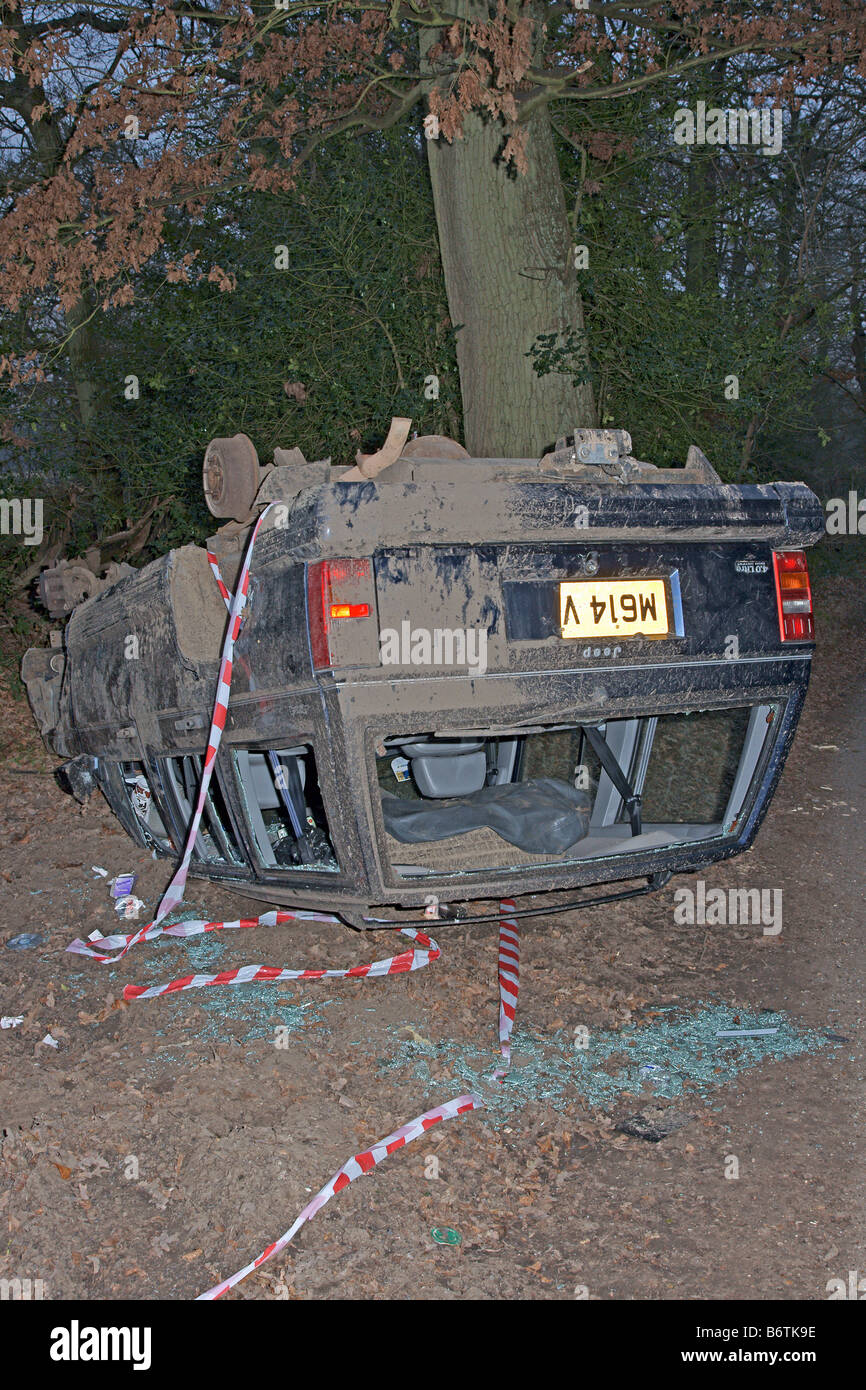 A 4 x 4 Jeep lies on its roof following a crash near Leith Hill in Surrey UK January 2009 - Stock Image