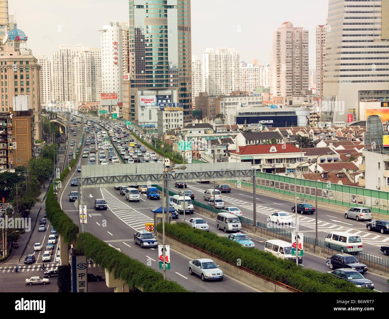 Elevated highway in shanghai - Stock Image